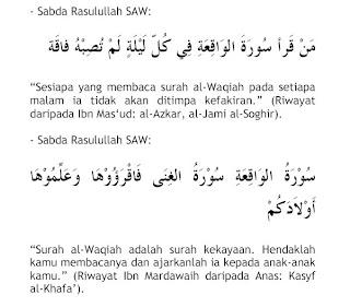 foto Hadis Nabi Mengenai Surah Al-Waqiah