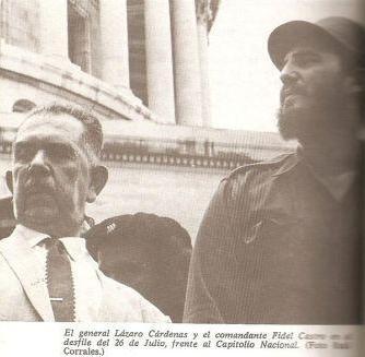 General Lazaro Cardenas y Fidel em 1959