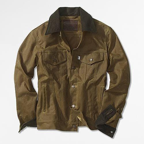 Levis black waxed cotton trucker jacket