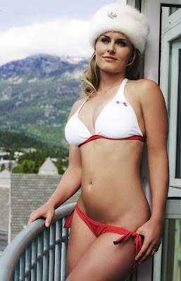 lindsey vonn in bikini swimsuit show her sexy body with open bra