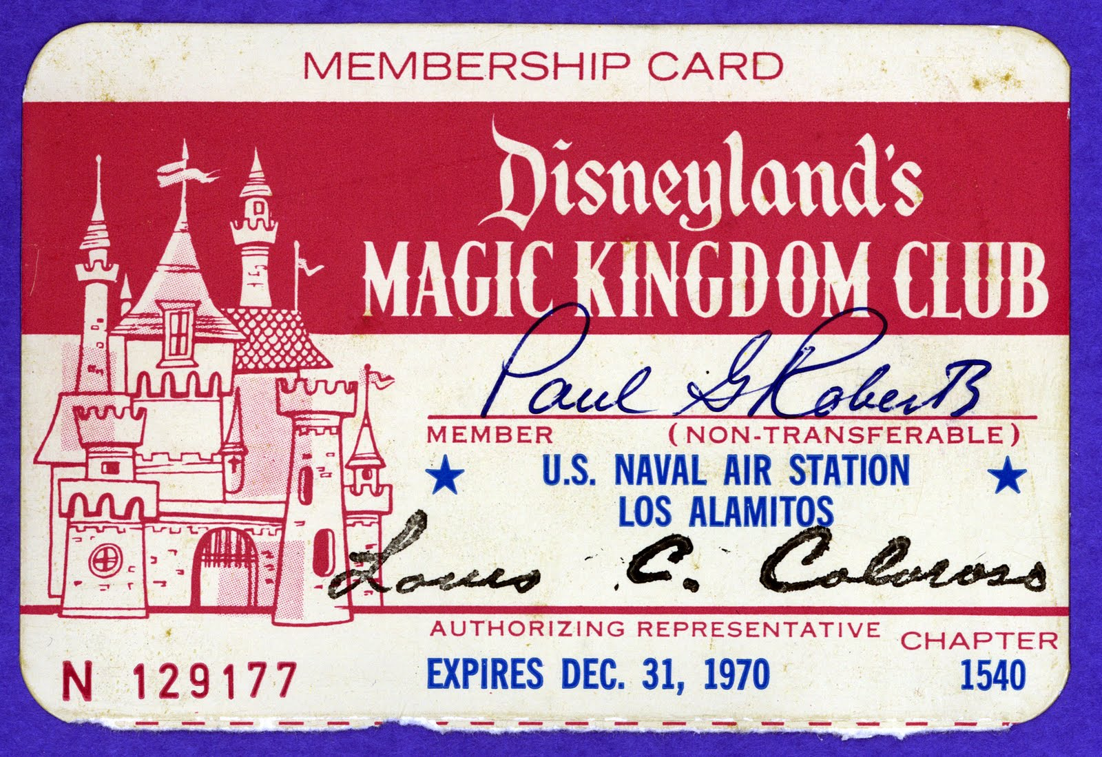 Magic Kingdom Club Membership Card   1970  Club Membership Card Template
