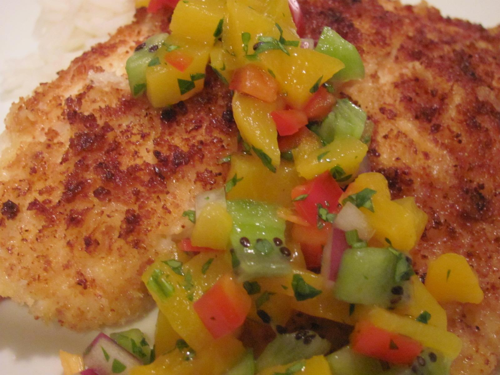 ... Recipes: Panko Crusted Tilapia with Peach Salsa over Basmati Rice