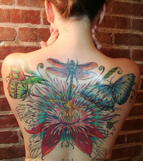 full back tattoo woman. Beautiful Women With Butterfly