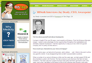 HISTalk Interviews Jay Deady, Awarepoint CEO