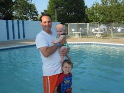 Daddy, Evie & Sean ready to swim