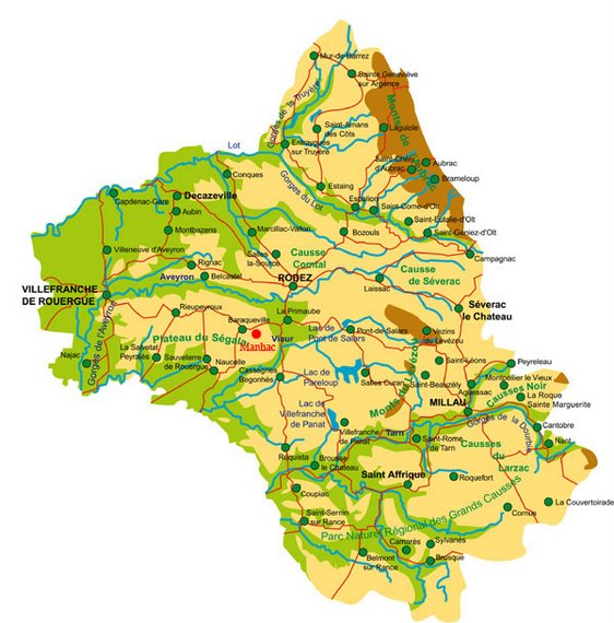 Localisation du gîte en Aveyron