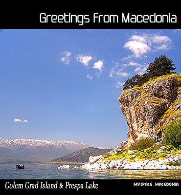 Greetings From Macedonia - Golem Grad Island And Prespa Lake (blue, sky, water, rocks, stones, mountains)
