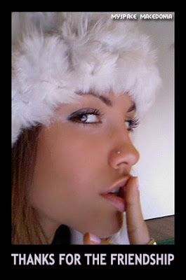 Thanks For The Friendship - Kiss From A Sexy Girl (white, fur hat)