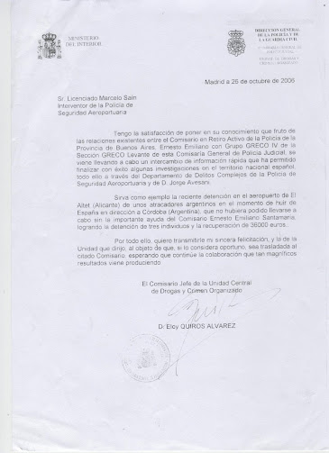 NOTA FELICITACION DEL MINISTERIO DEL INTERIOR DE ESPAÑA AL COMISARIO SANTAMARIA