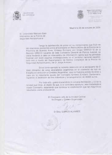 NOTA FELICITACION DEL MINISTERIO DEL INTERIOR DE ESPAÑA AL COMISARIO SANTAMARIA