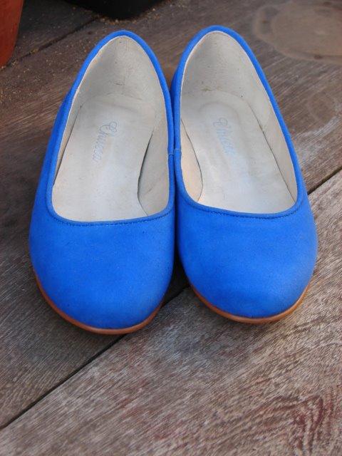 Ballerinas con Ribete - Gamuza Azul Francia