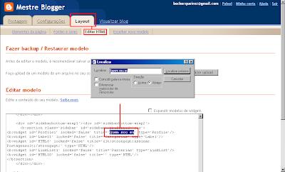 Página Editar HTML - Busca de tag
