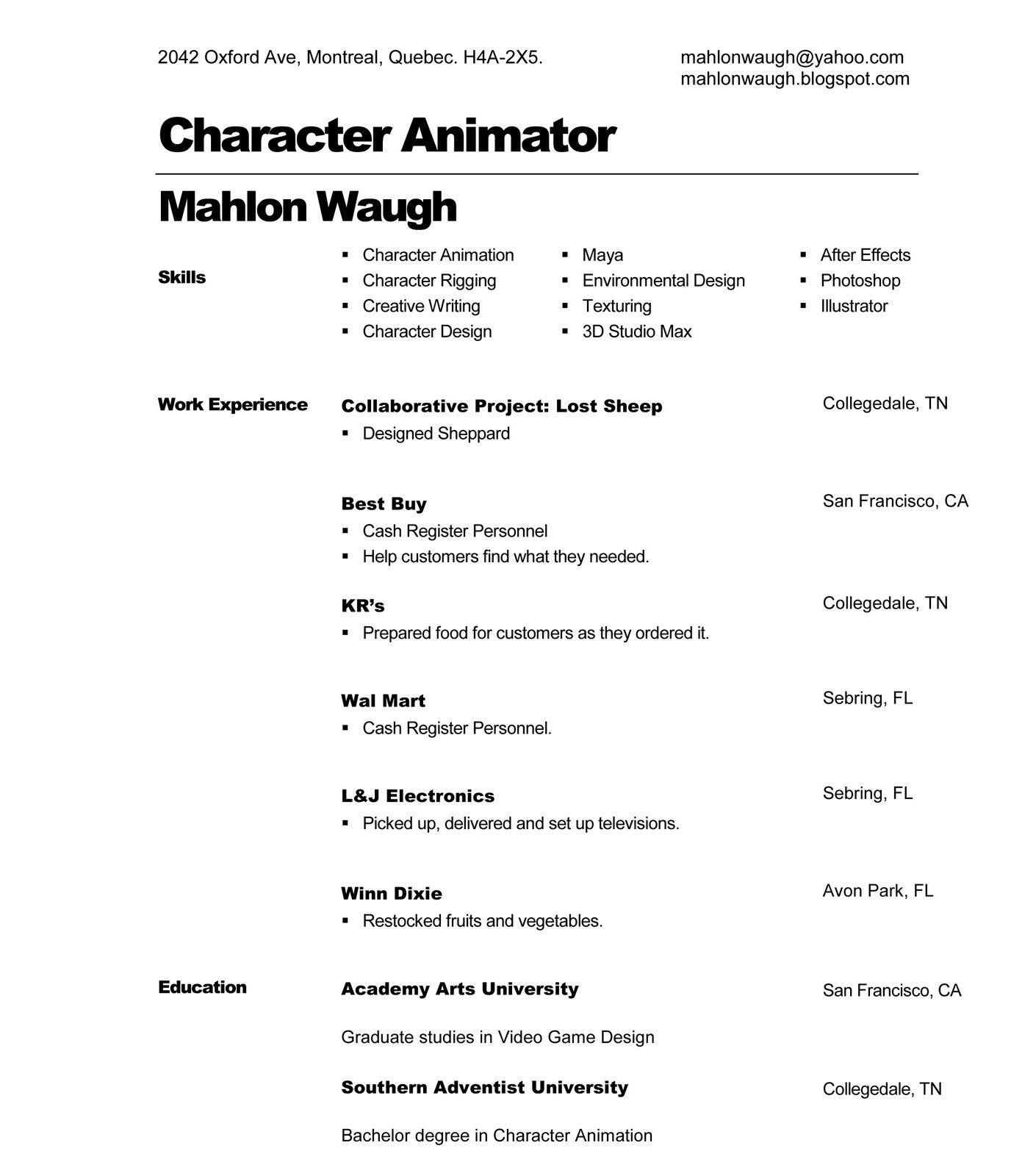character animator cover letter - Template