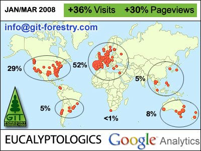 EUCALYPTOLOGICS gets +650% traffic increase in 3 months / EUCALYPTOLOGICS is currently in the top 5% of the World Wide Web / GIT Forestry Consulting, Consultoria y Servicios de Ingenieria Agroforestal, Lugo, Galicia, España, Spain / Eucalyptologics Information Resources on Eucalyptus Cultivation Around the World