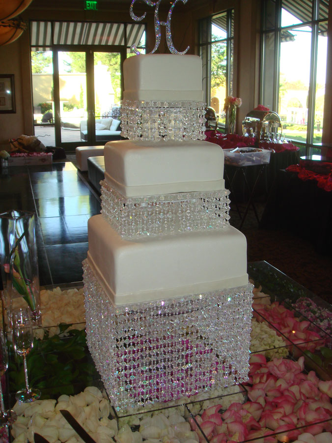 pearl and bling wedding cake