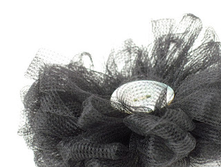 handmade black tulle corsage by ffflowers