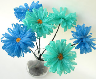 upcycled plastic bag flowers by ffflowers