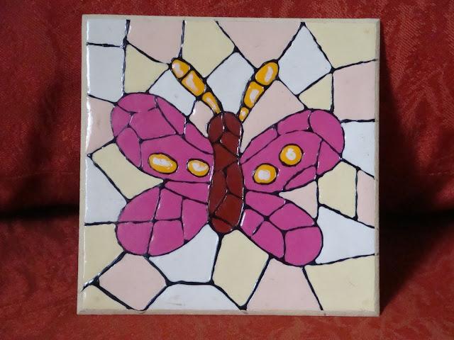 Pintura em MDF, falso mosaico