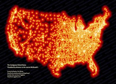 Mapa continuo de Estados Unidos formado por sucursales de Mc Donalds
