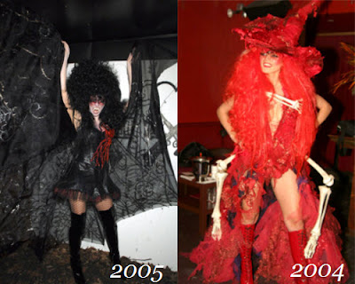 Heidi disfrazada de vampiro y bruja roja