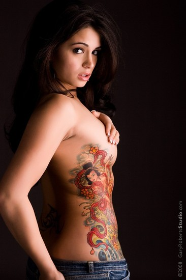 Flower tattoos design on side. Japanese Gheisa Tattoo Side Body Girls