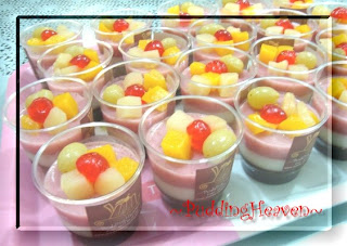 three layers pudding of three flavors milky fresh strawbery on the