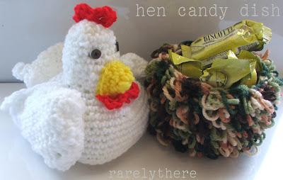 crochet hen candy dish