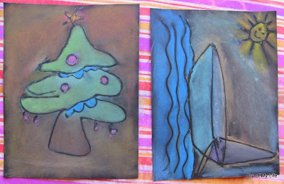 kids art easy chalk pastel project with glue on black paper