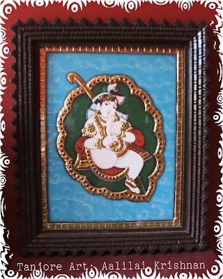 Tanjore Art painting Aalilai Krishnan