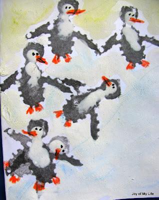 kids art potato stamps penguins ladybugs