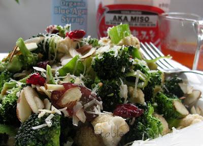easy recipe fusion cuisine Broccoli Salad with Blue Agave Nectar  Aka Miso Vinaigrette