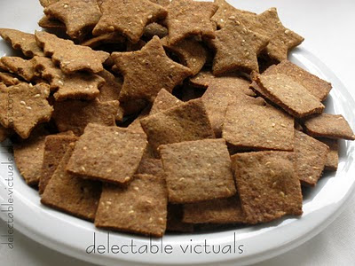baked Whole Wheat and Sesame Seed Crackers