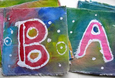 kids craft Paste Batik Letters Flag