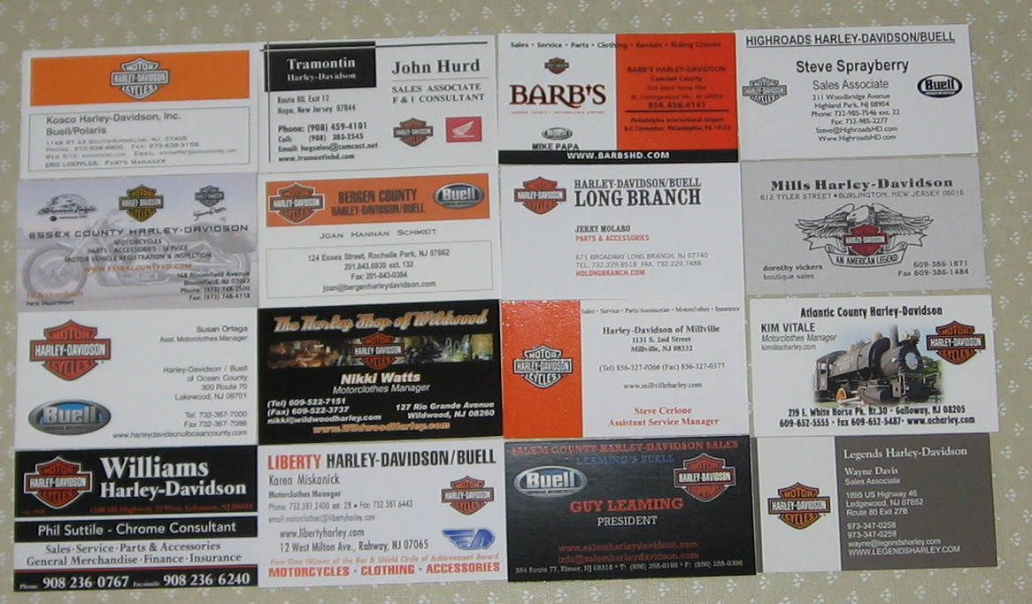 Business cards bergen county nj image collections card design and my harley cards june 2010 here are all of the business cards from all of the reheart Images