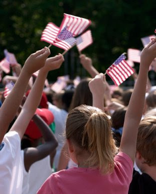 NAMC montessori history activities US national flag day waving american flags