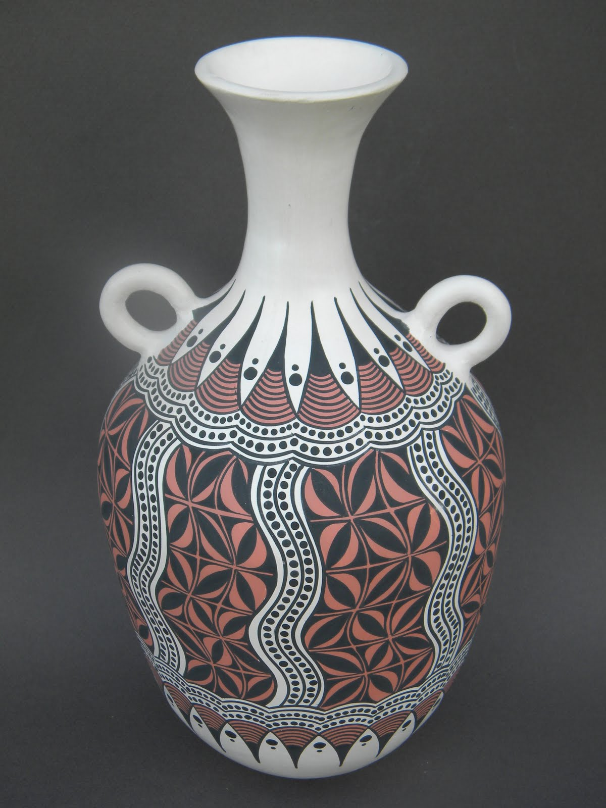 Two tribes pottery art work handbuilt handcoiled and hand white earthenware clay with black and red design 125ht x 625 wt 75000 0327a reviewsmspy