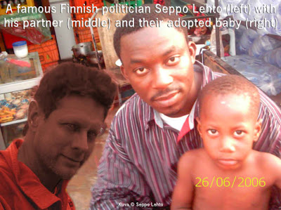 Seppo Lehto with his Somali partner and adopted son