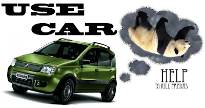Use car; help to kill pandas and pollute the Gulf of Mexico with oil