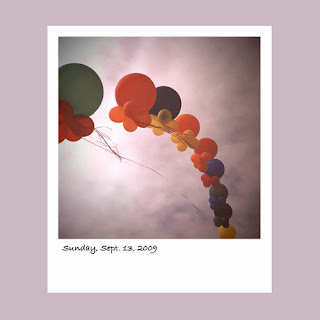 iPhone polaroid, baloons