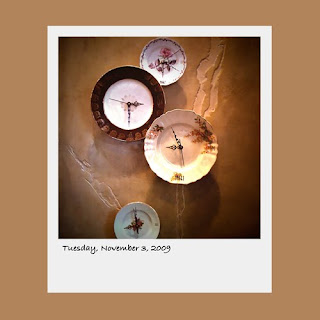 iPhone polaroid, vintage plates, clocks