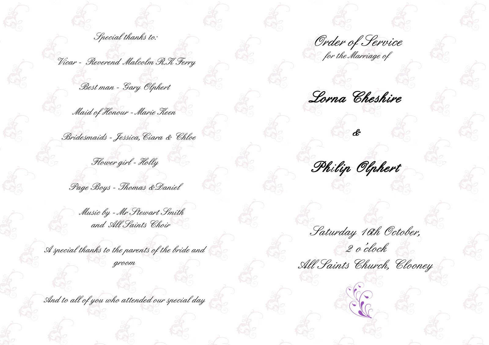 Wedding Invitations: Lorna's Invitations And Order Of Service