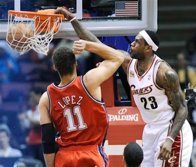 lebron james dunk 2010. lebron james dunking on.