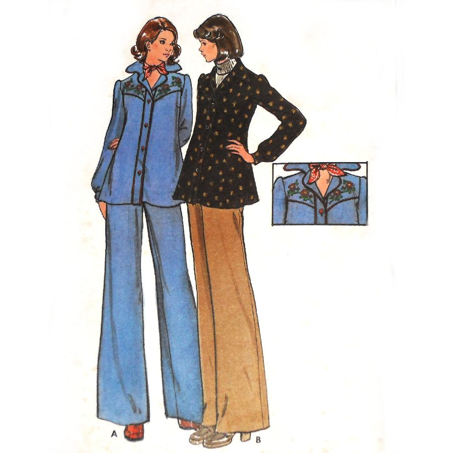 70s western shirts and wide leg pants the sewinghappyplace vintage 70s sewing pattern maternity top pants sz 14 b36 butterick 3918 western inspired embroidery w transfers uncut ff butterick 3918 available jeuxipadfo Images