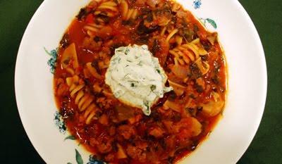 Lasagna Soup with Basil Ricotta Crème