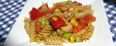 Rotini with Corn and Tomatoes Cruda