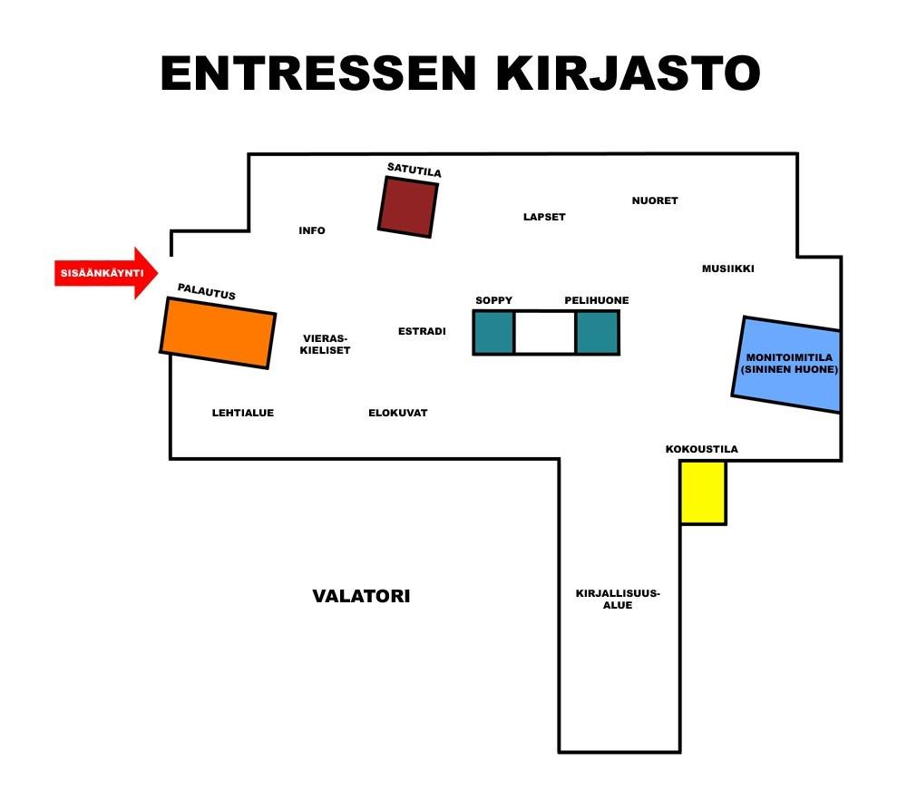 Entressen kirjaston kartta