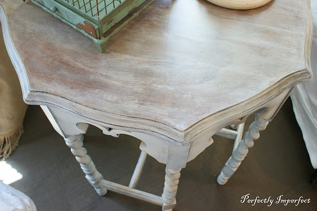 Whitewashing is perfect for highlighting and brightening natural wood, like  with this barley twist table. We wanted a natural finish, and adding a wash  to ...