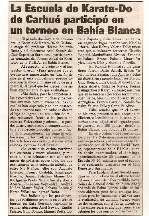 TORNEO DE KARATE DO ITOSU KAI - BAHIA BLANCA 04/11/2001