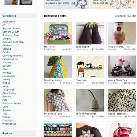 Picture of the Etsy front page!