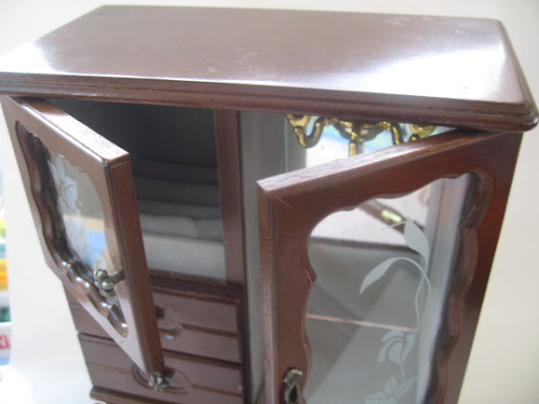 Vintage Wooden Armoire Jewelry box with music box